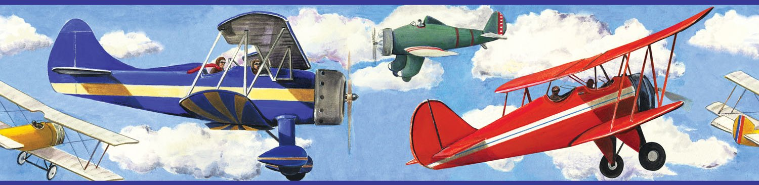 Vintage Airplanes Wallpaper Border 1500x366