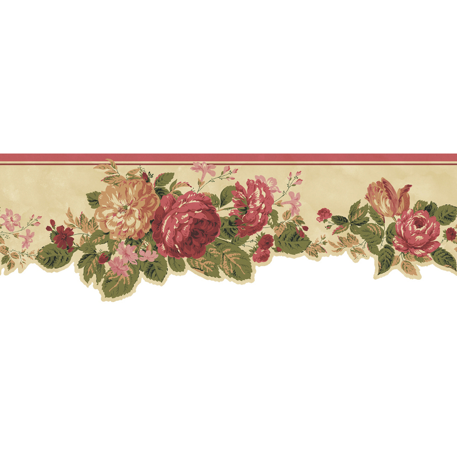 roth 6 12 Red Cottage Rose Prepasted Wallpaper Border at Lowescom 900x900