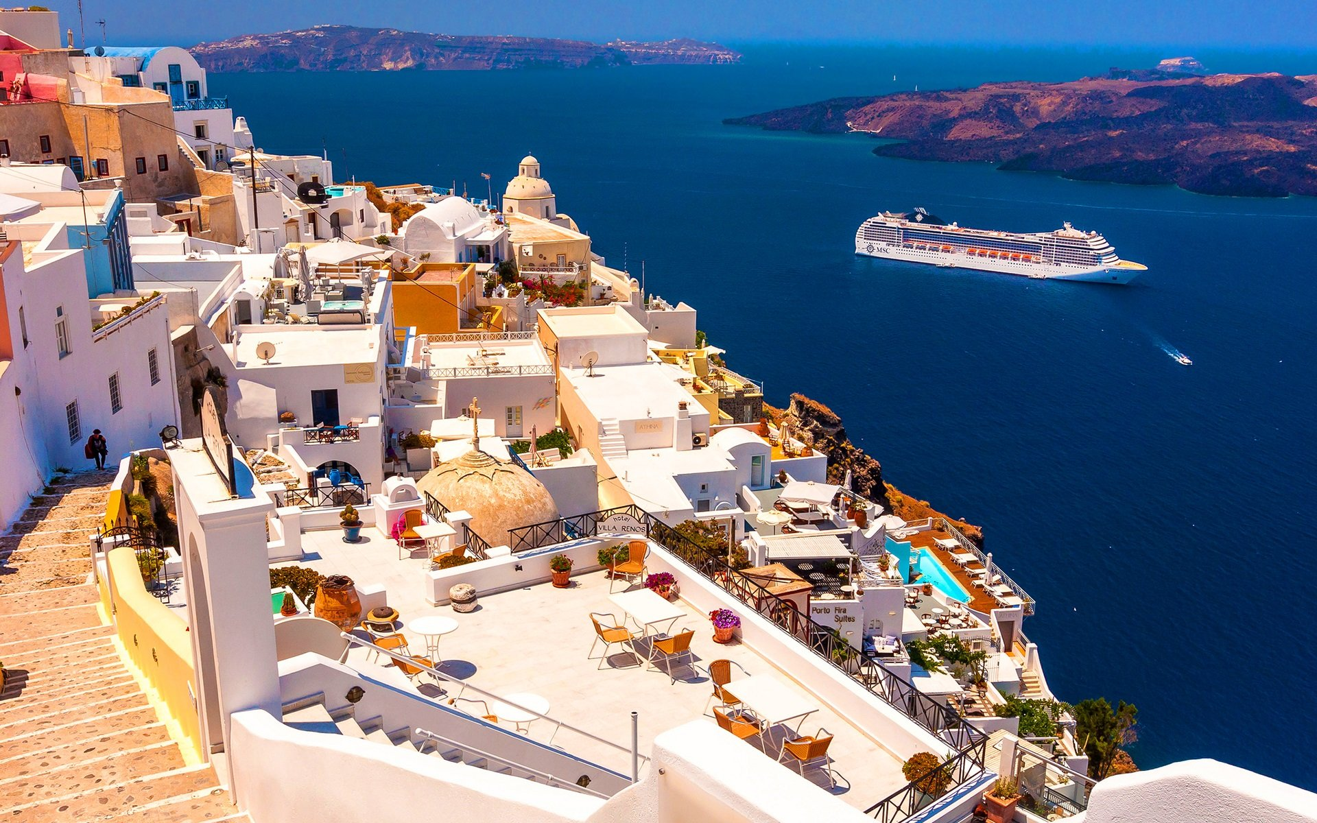 Wallpaper Santorini Greece houses sea ship sunshine 1920x1200 1920x1200