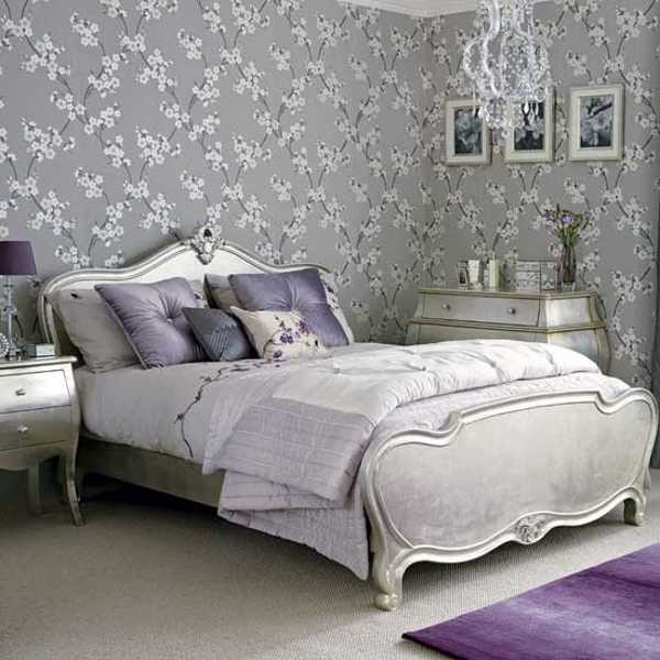 Gray wallpaper and carved wood bedroom furniture decorative pillows 600x600