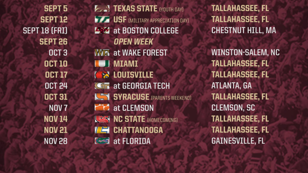 graphic relating to Fsu Football Schedule Printable named No cost obtain Florida Place Announces 2015 Soccer Plan