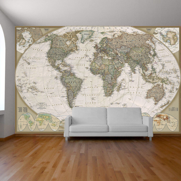 World map wall paper mural self adhesive old style world map Globe 600x600