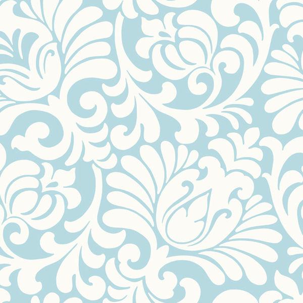 Light Blue Tulip Damask Wallpaper   Wall Sticker Outlet 600x600