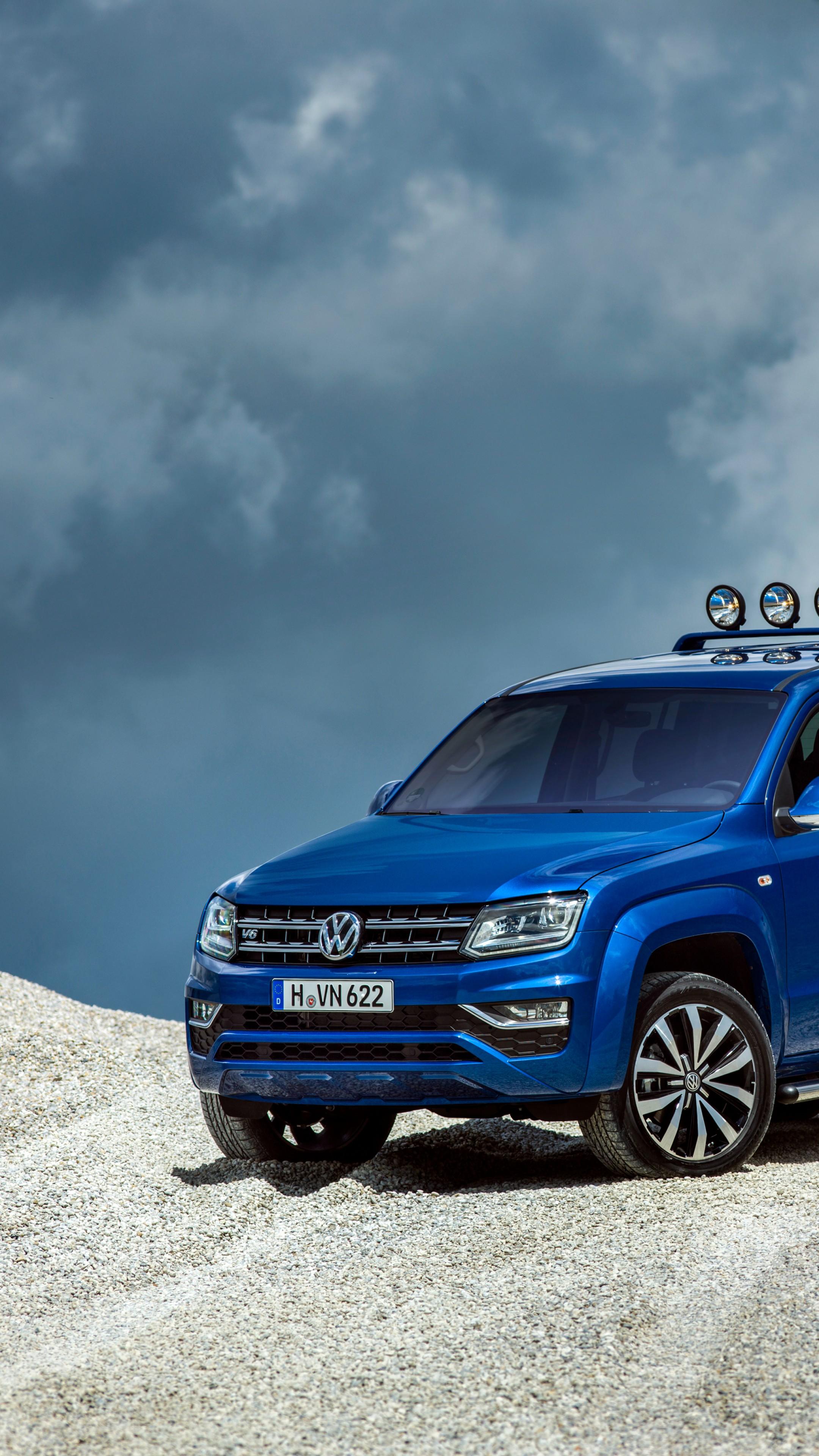 Wallpaper Volkswagen Amarok Double Cab Aventura pick up blue 2160x3840
