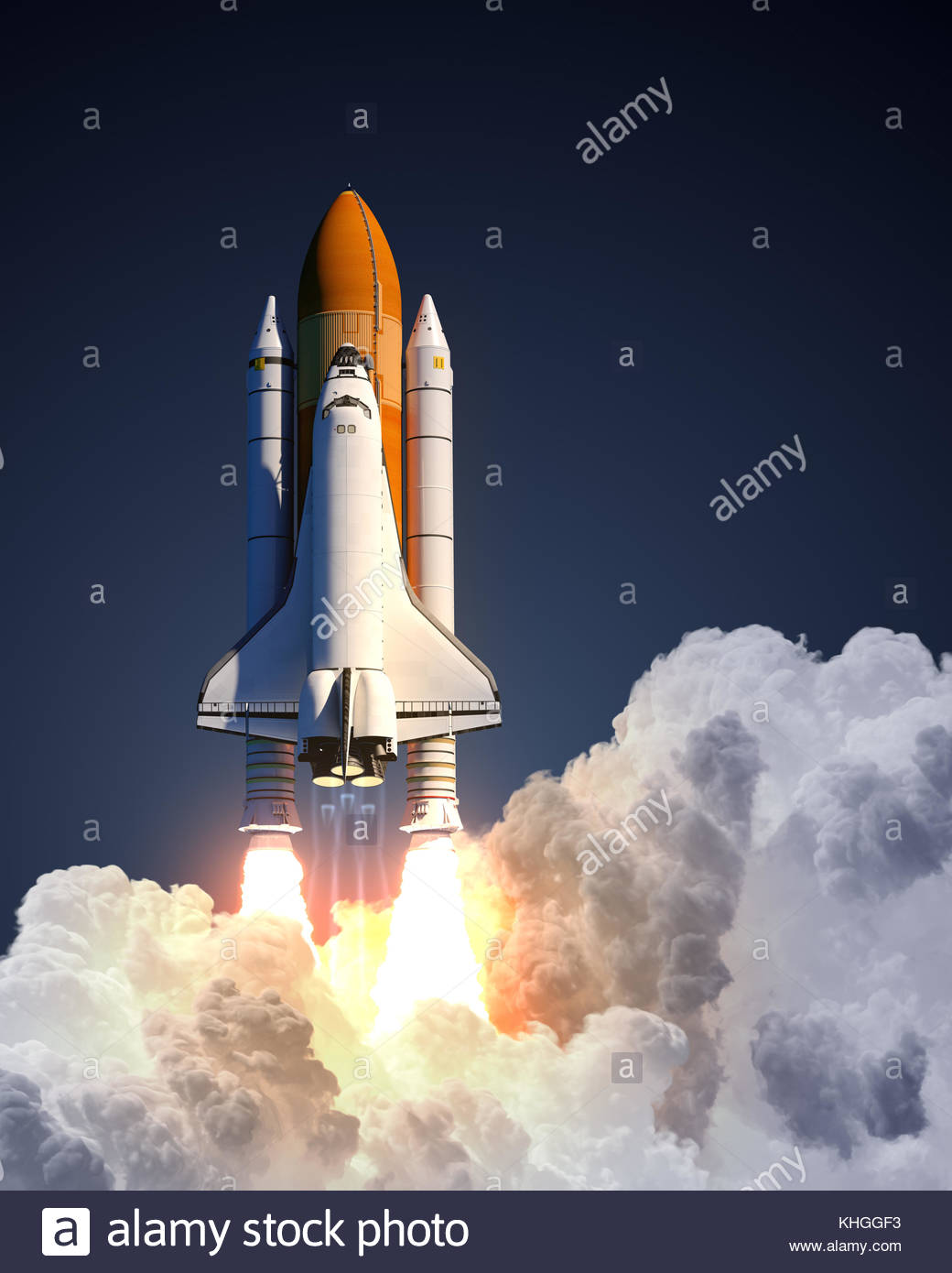 Space Shuttle Launch On Blue Background Stock Photo 165706663   Alamy 1040x1390