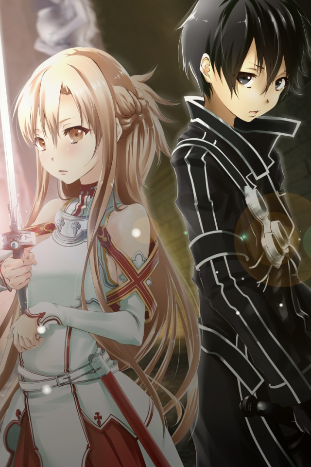 Sword Art OnlineKiritoAsuna IPhone 4 Wallpaper640960 1 640x960