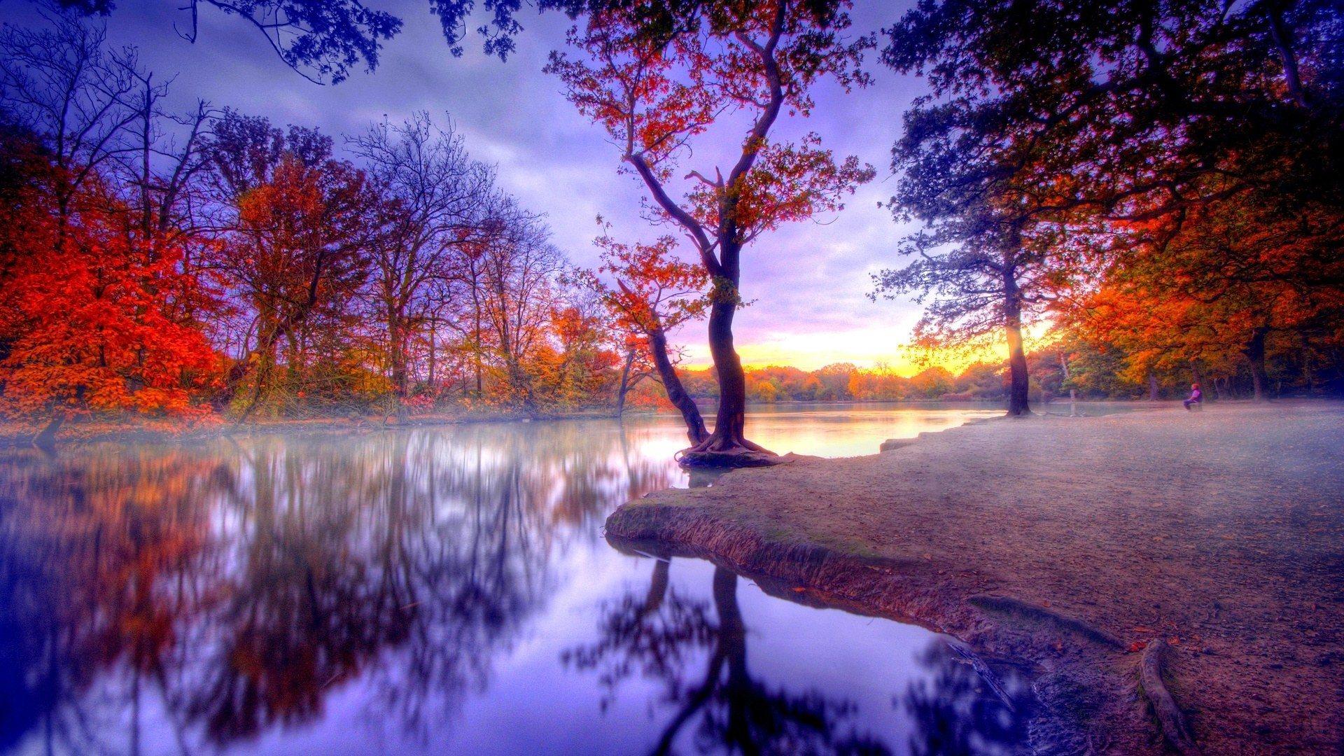 осень озеро природа облака деревья  № 2491564 бесплатно