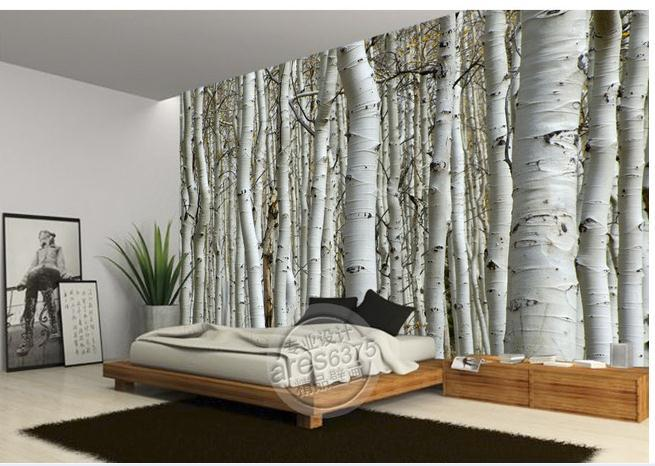 White birch wallpaper wallpapersafari for Black and white tree wallpaper mural