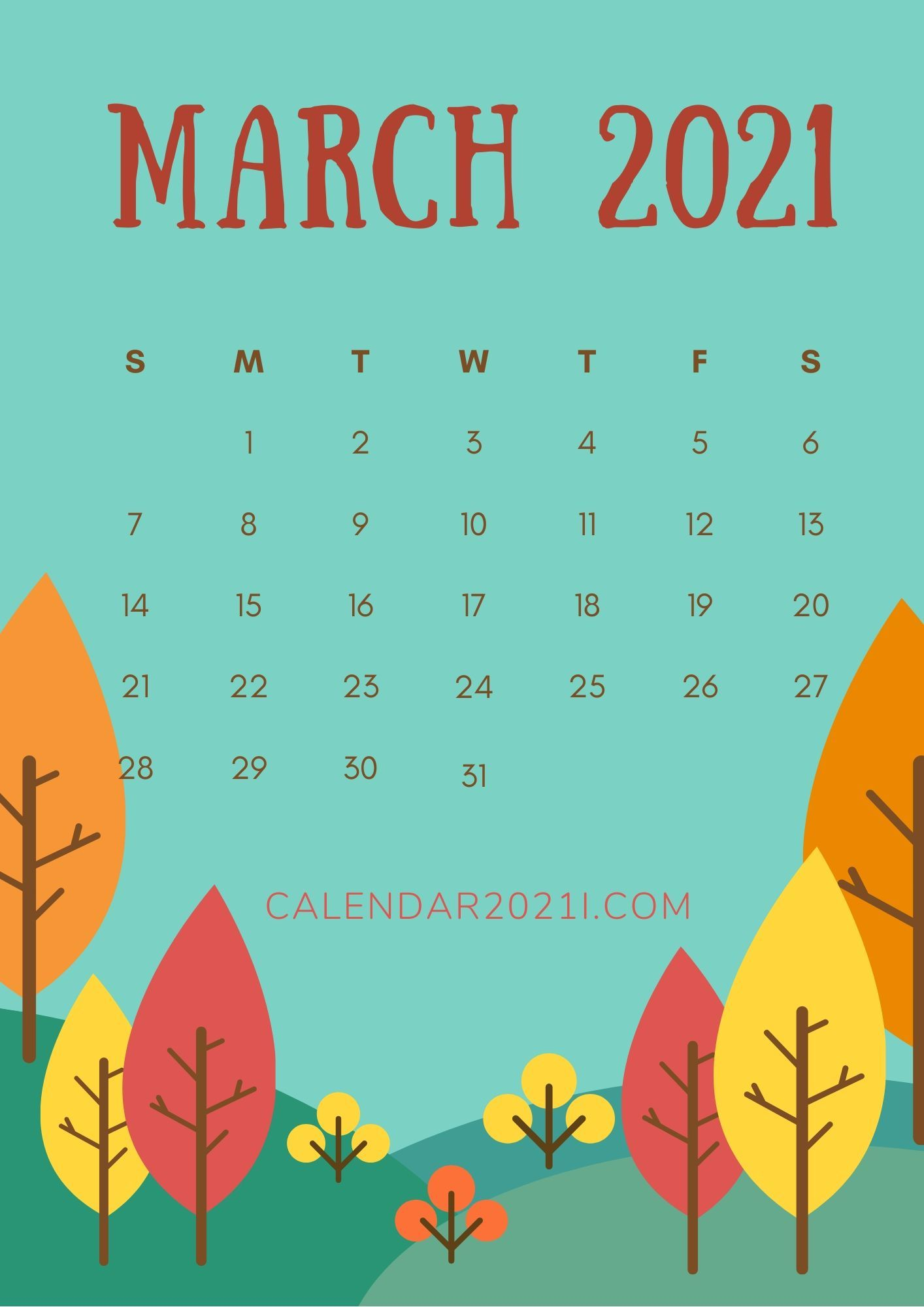 March 2021 iPhone Calendar Wallpaper Printable calendar design