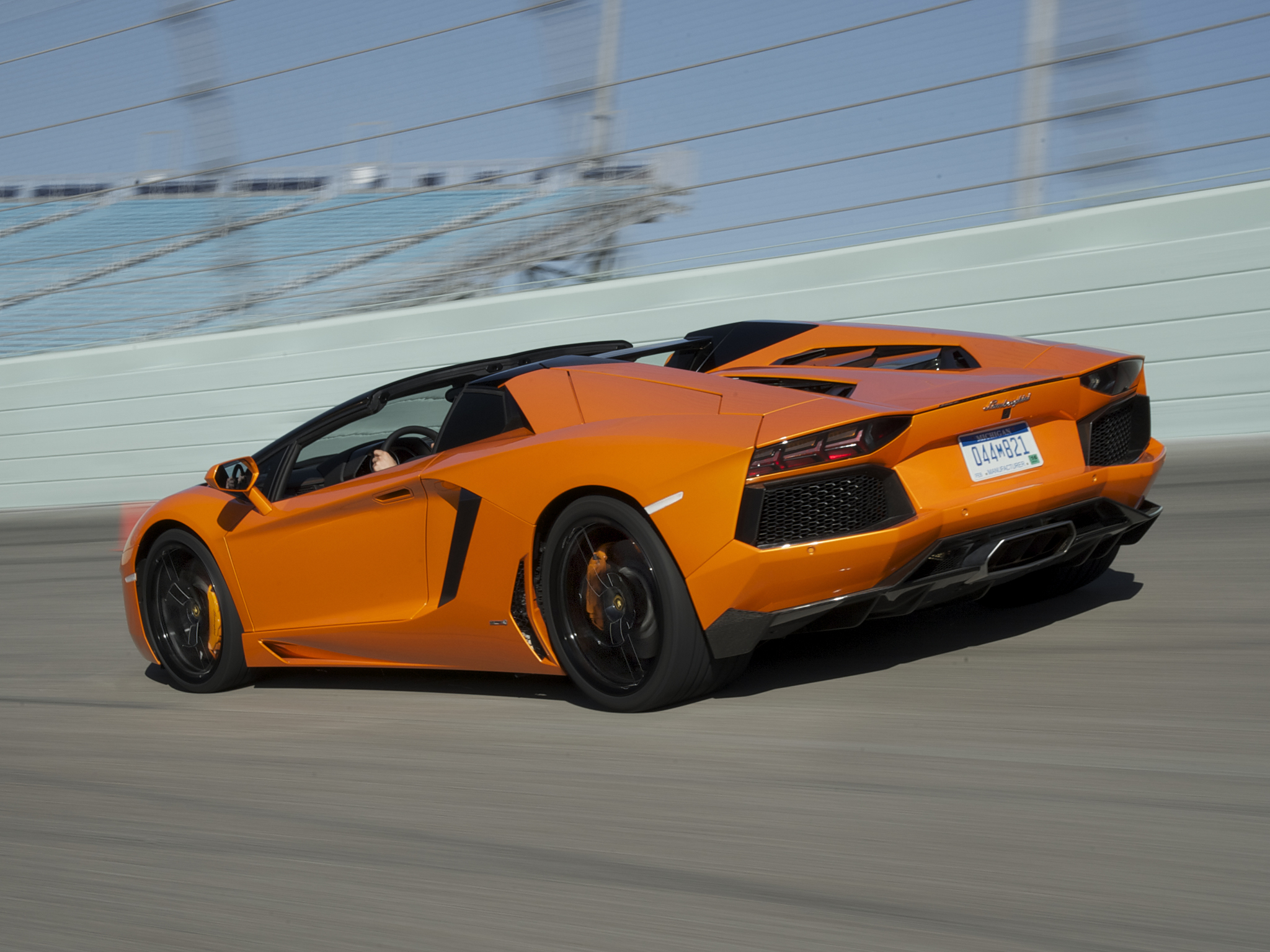 2014 Lamborghini Aventador LP700 4 Roadster supercar orange track r 2048x1536