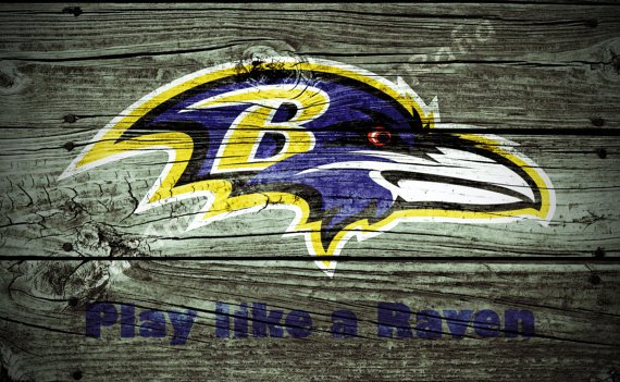 similar to Wood Background Baltimore Ravens poster Play Like a Raven 570x351