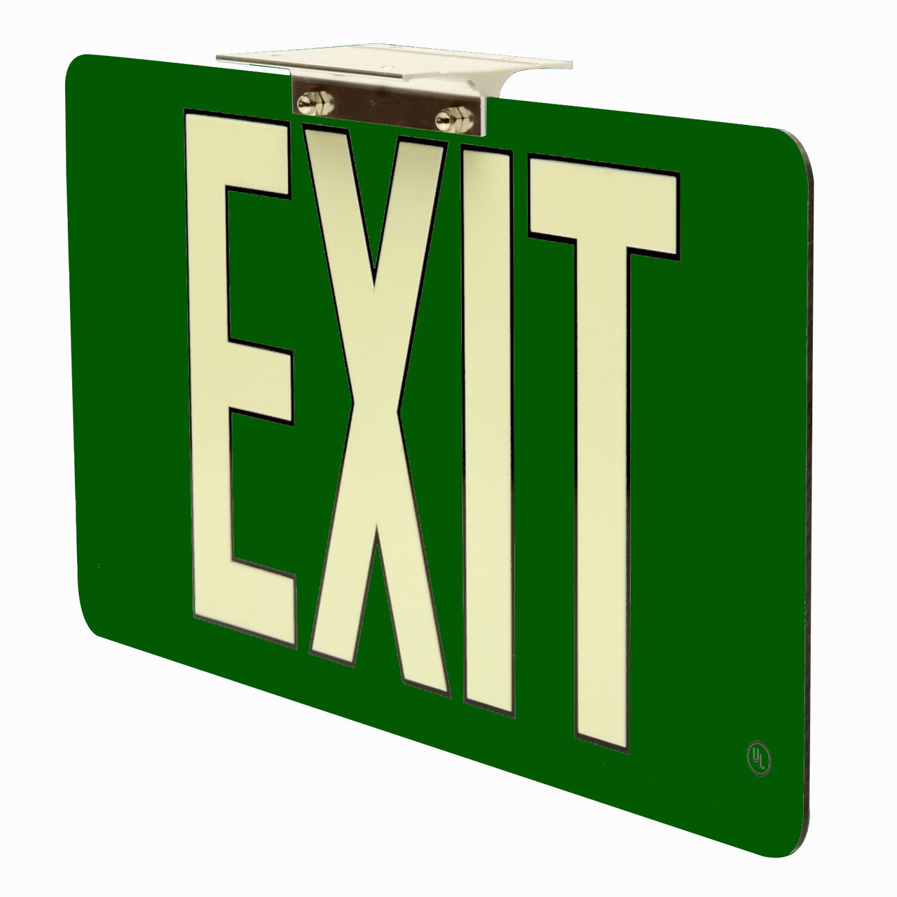 50 Ultra Thin Photoluminescent Exit Sign with Green Background 1280x1280