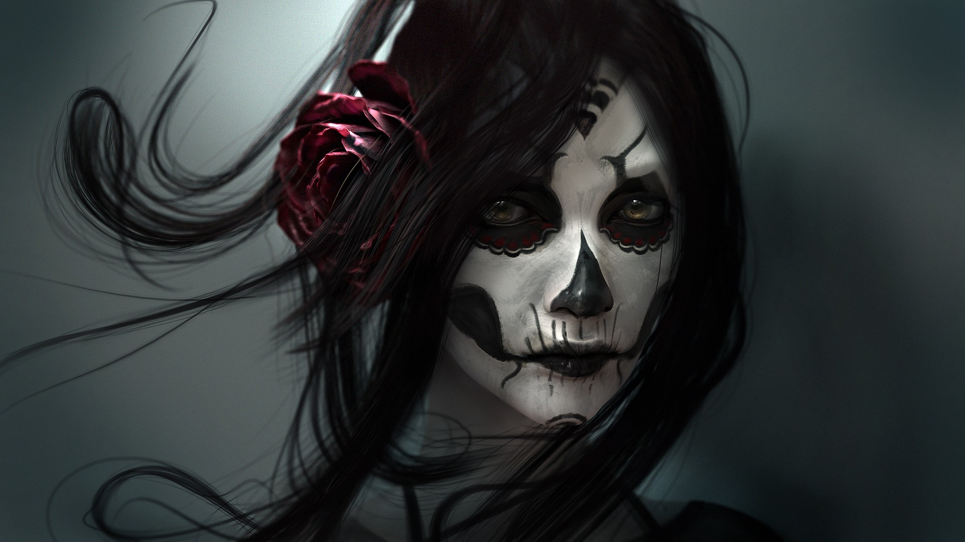 Black Baccara wallpaper girl skull face painting Day of the dead 1920x1080