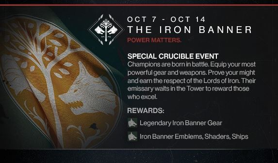 through the 14th Bungie is rolling out the Iron Banner for that week 573x336