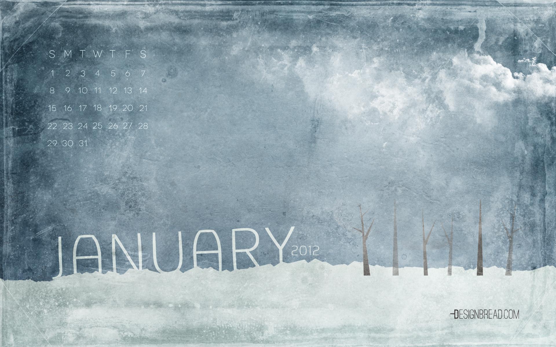 January 2012 Calendar Wallpaper Design Bread 1920x1200