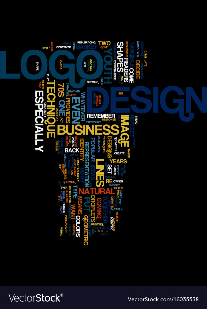 Techniques in logo design text background word Vector Image 722x1080