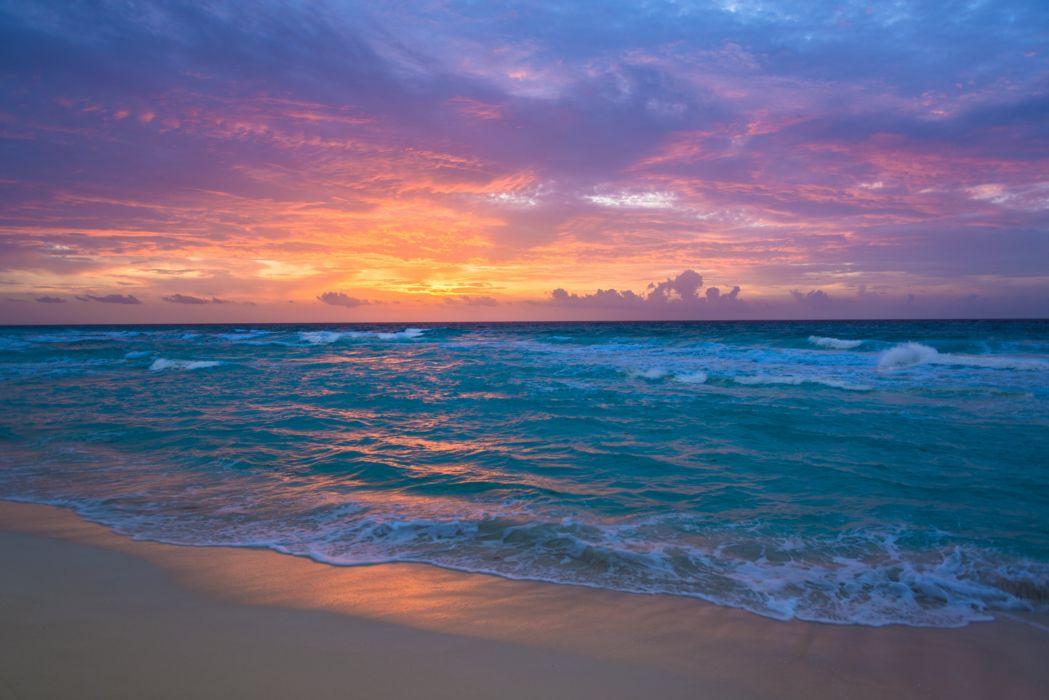 Sea surf sunrise waves sand ocean beach wallpaper 5969x3985 1049x700