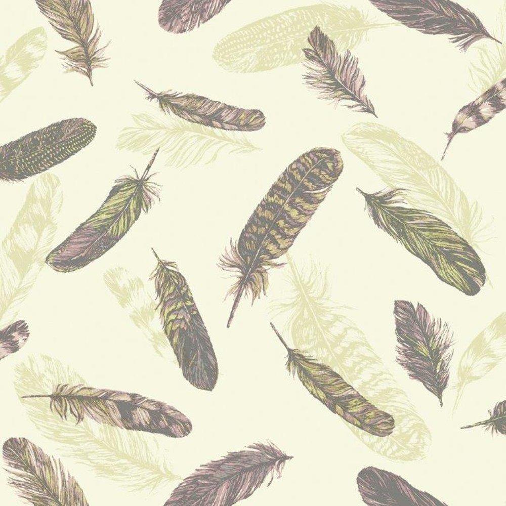 Vintage Plume Bird Feather Pattern Motif Textured Vinyl Wallpaper 1000x1000
