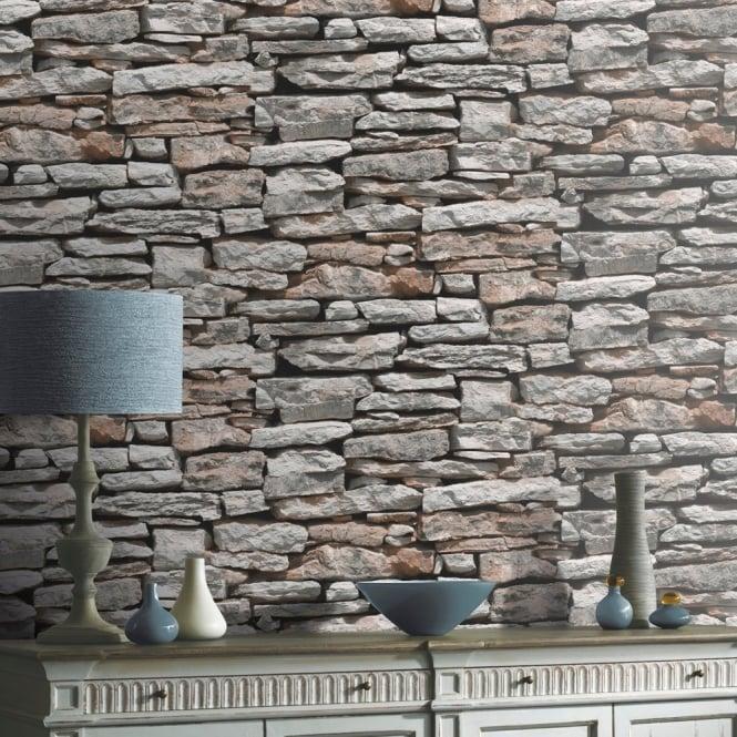 VIP Moroccan Stone Wall Brick Effect Photographic Wallpaper 623000 665x665