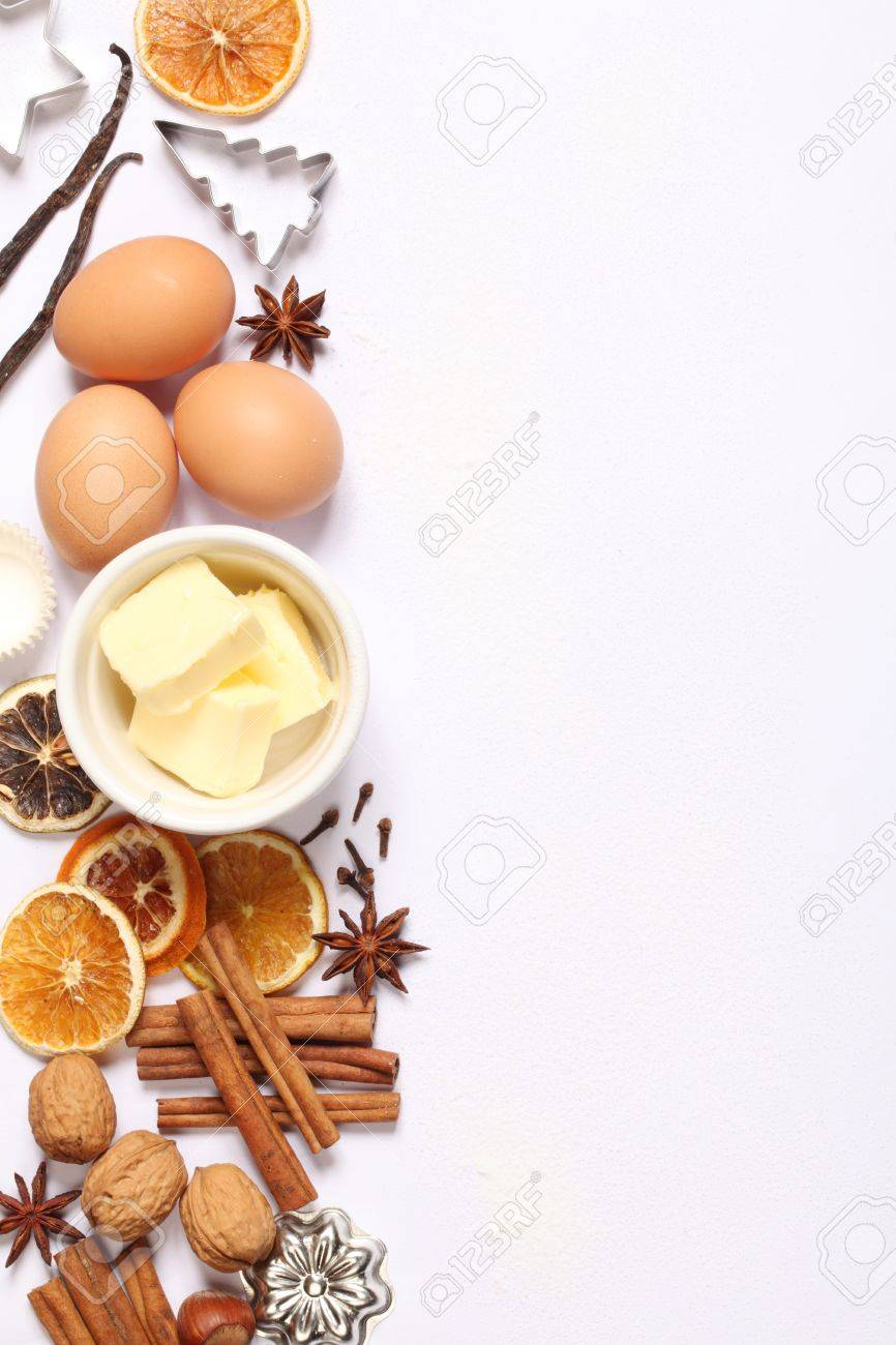 Baking Utensils Spices And Food Ingredients On White Background 866x1300