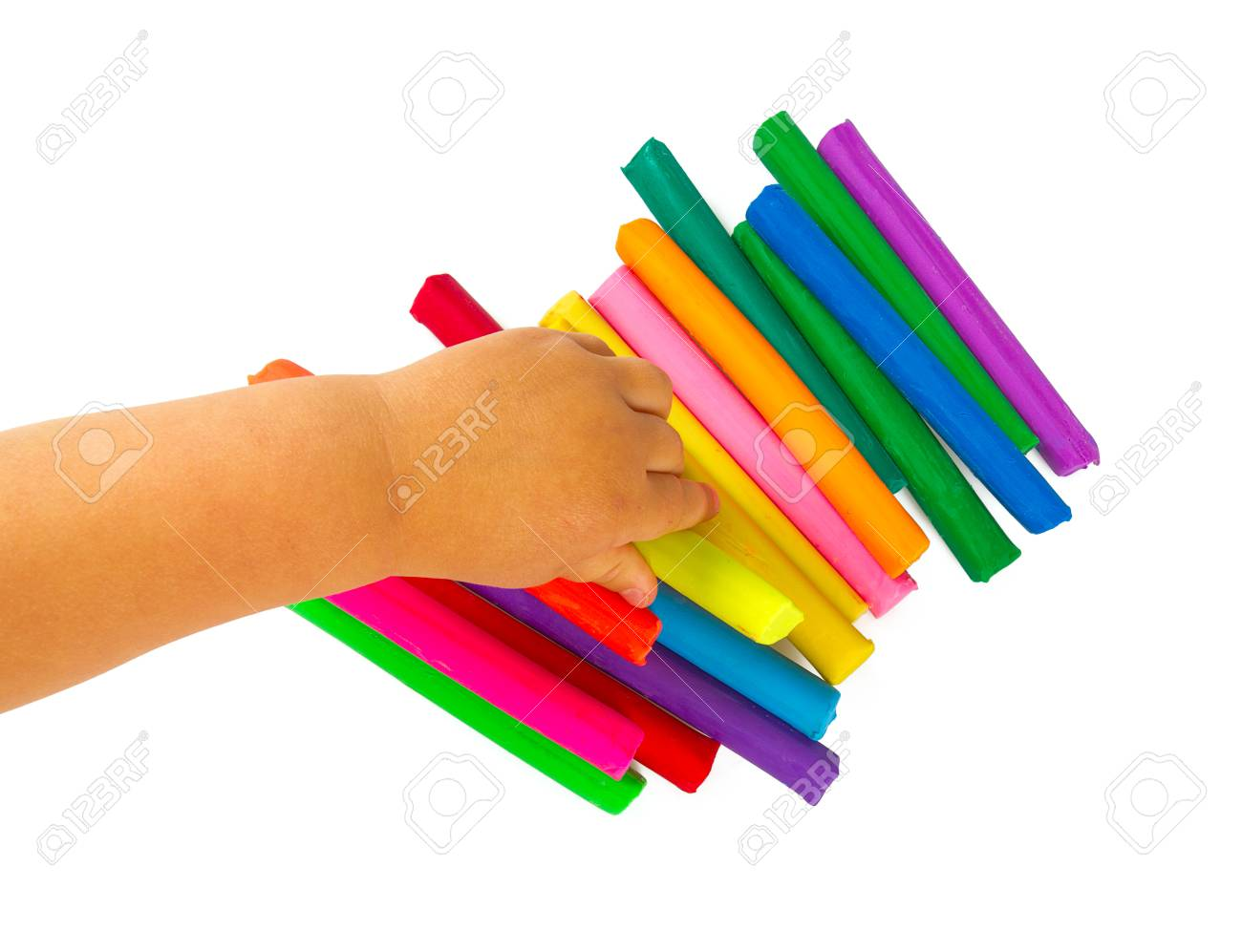 Colorful Playdough On White Background Stock Photo Picture And 1300x997