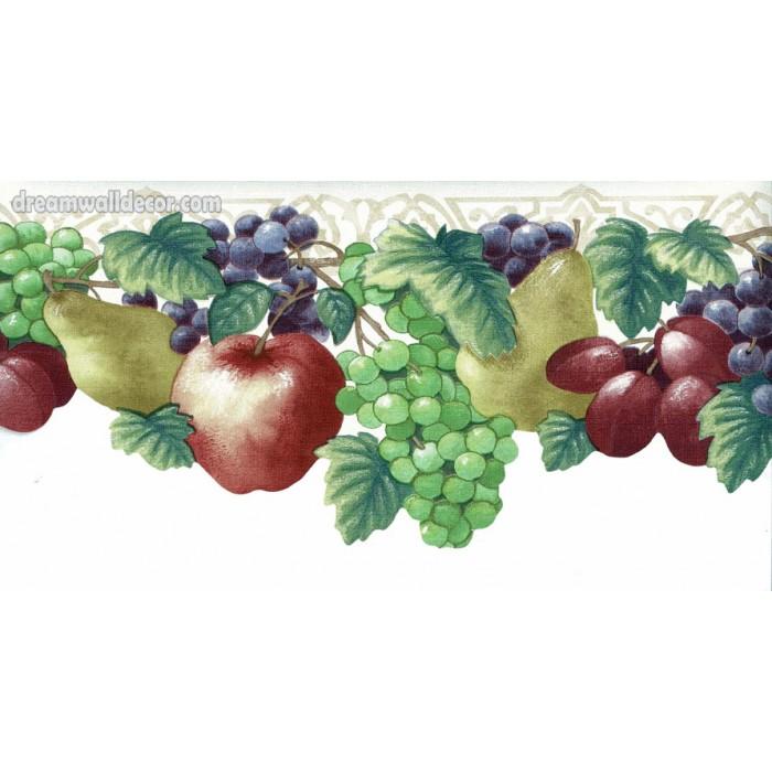 Apple Peach Grape Wallpaper Border 700x700