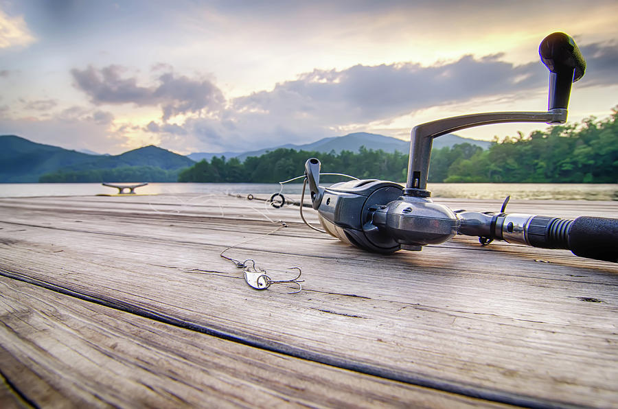 Fishing Tackle On A Wooden Float With Mountain Background In Nc 900x596