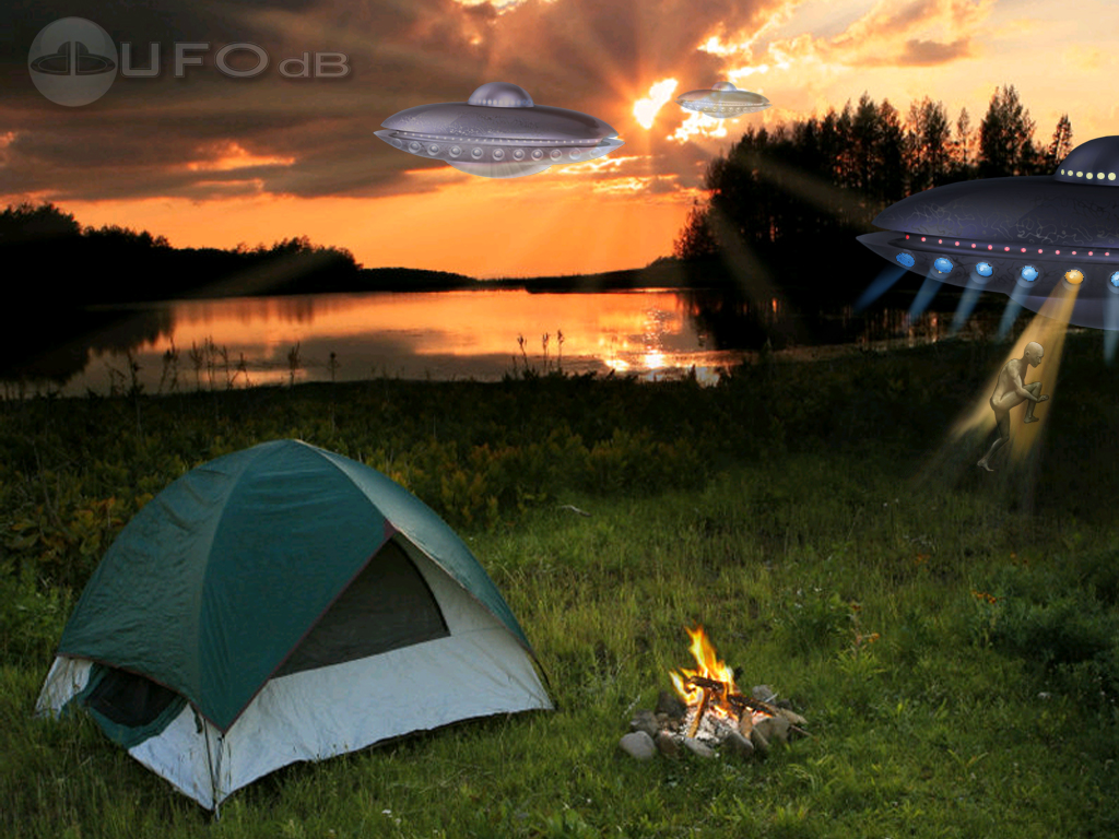 UFOdbcom UFO Wallpaper Camping abduction 1024x768