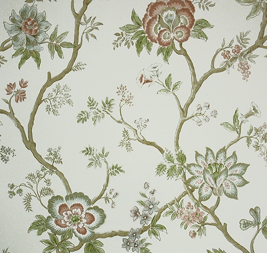 floral wallpaper based on 18th century Southern Indian chintz designs 534x506