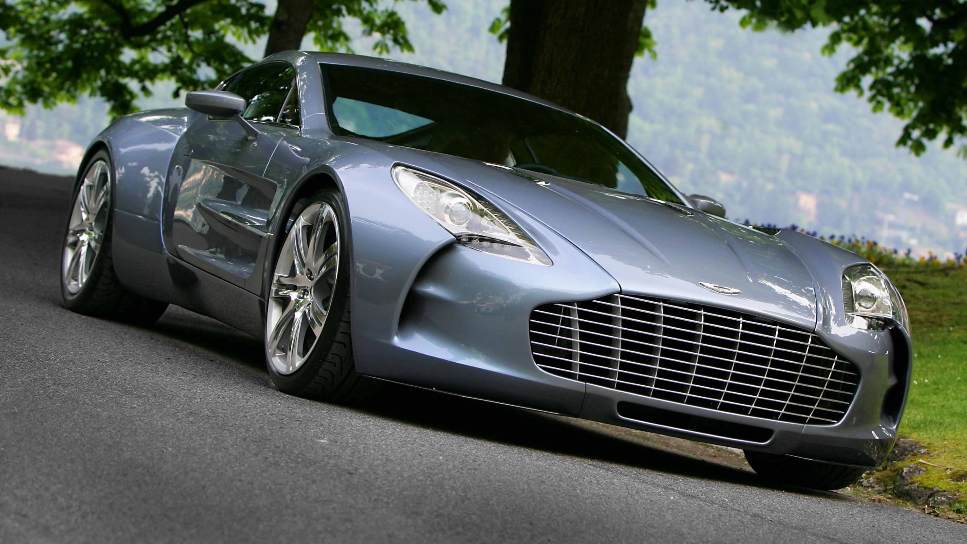 Download Wallpaper 3840x2160 aston martin one 77 2009 blue front 3840x2160