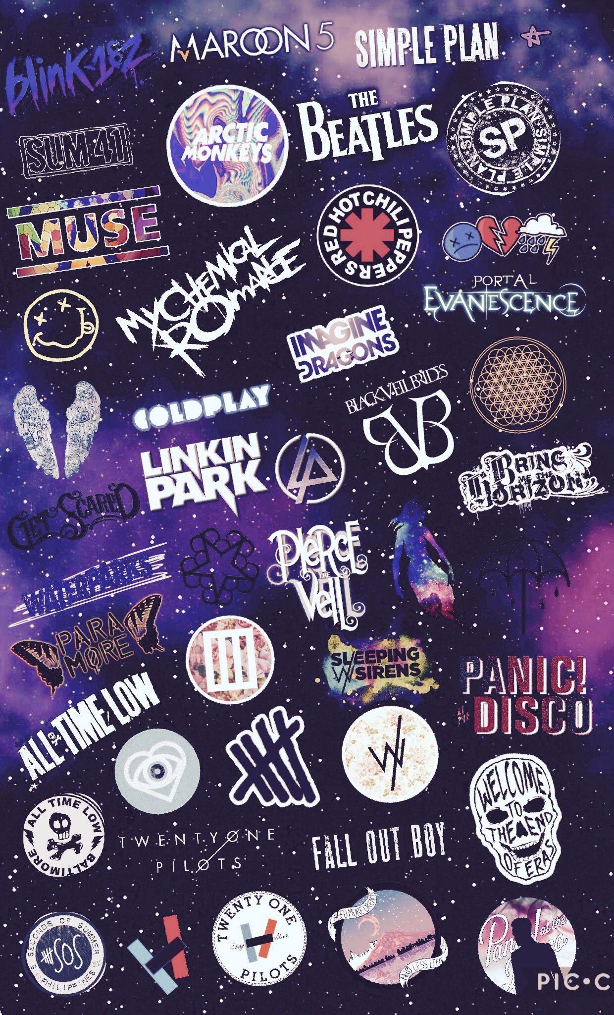 music collage art fanart rock alternative bands wallpaper 1240x2048