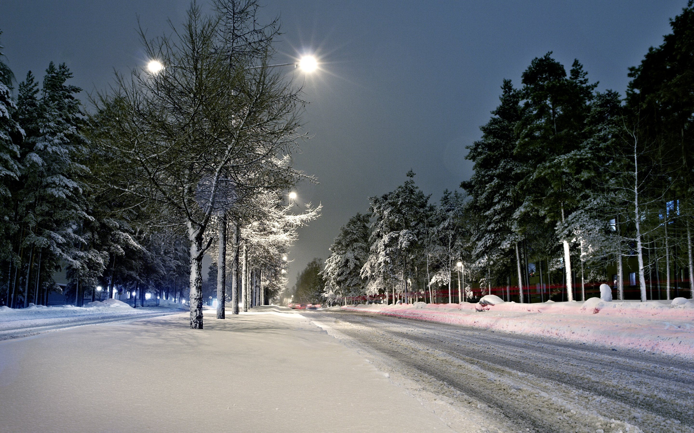 Street   Lights   Winter   Snow   Scenery 2880x1800