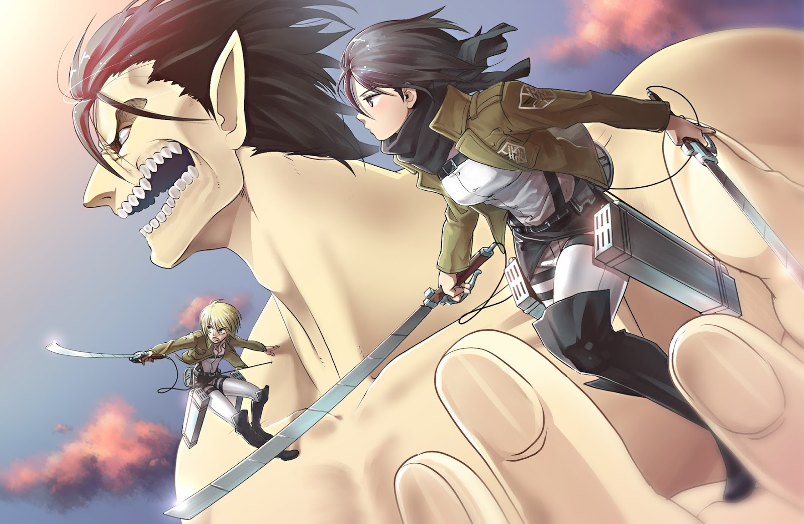 Free Download Eren Jaeger Titan Form Mikasa Ackerman Armin
