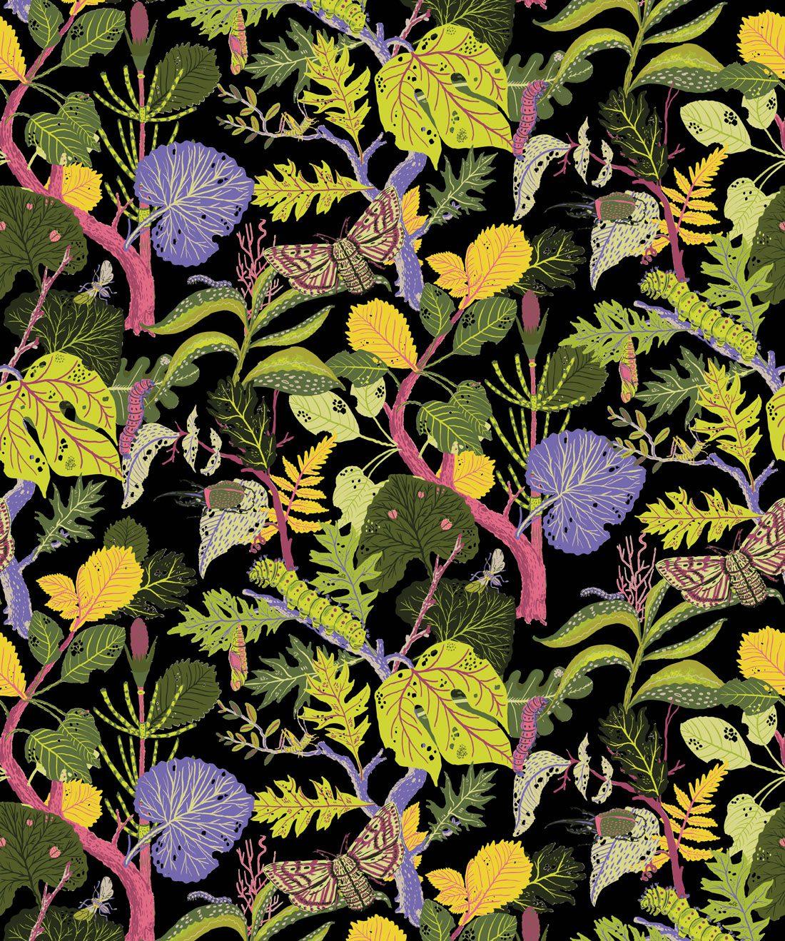 Caterpillar Lively Botanical Wallpaper Bold Fun Milton King 1100x1318