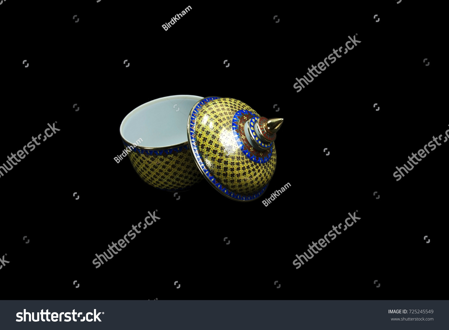 Benjarong Casket Isolated On Black Background Stock Photo Edit 1500x1104