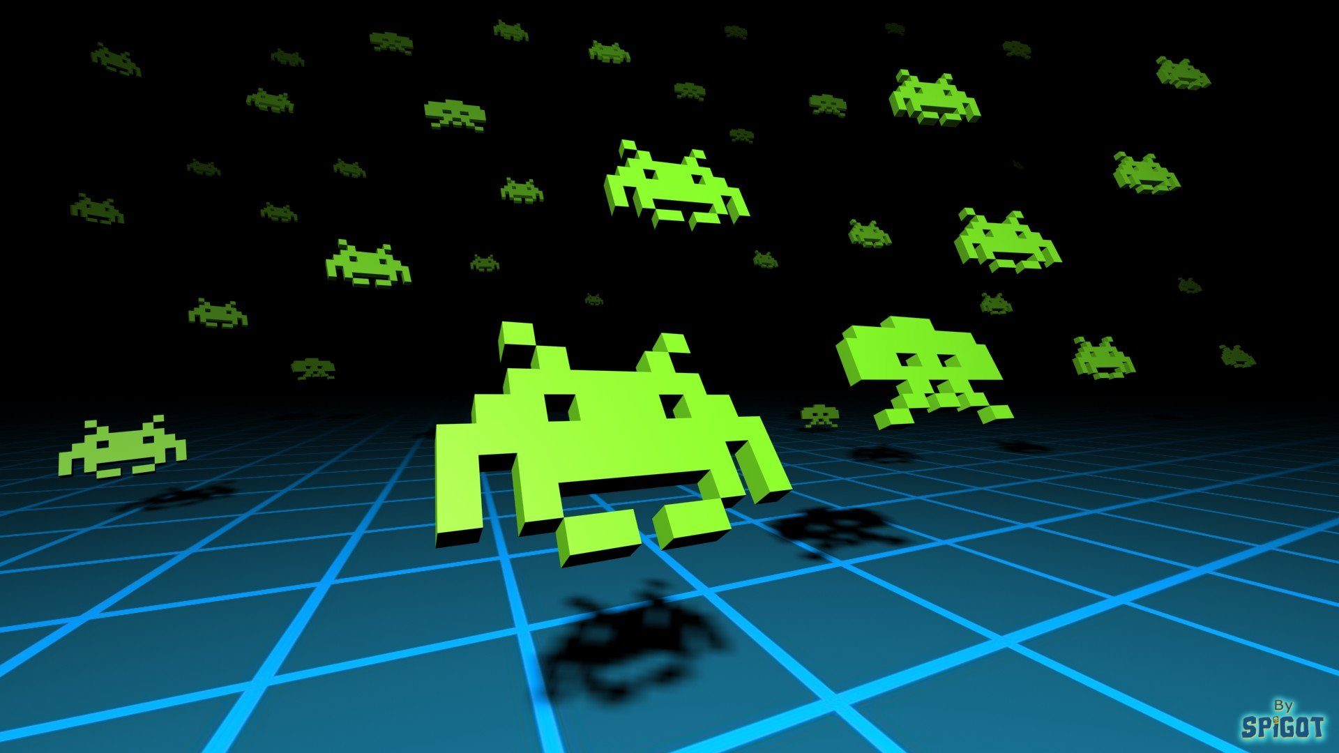 black and white computer game Space Invaders 1920x1080
