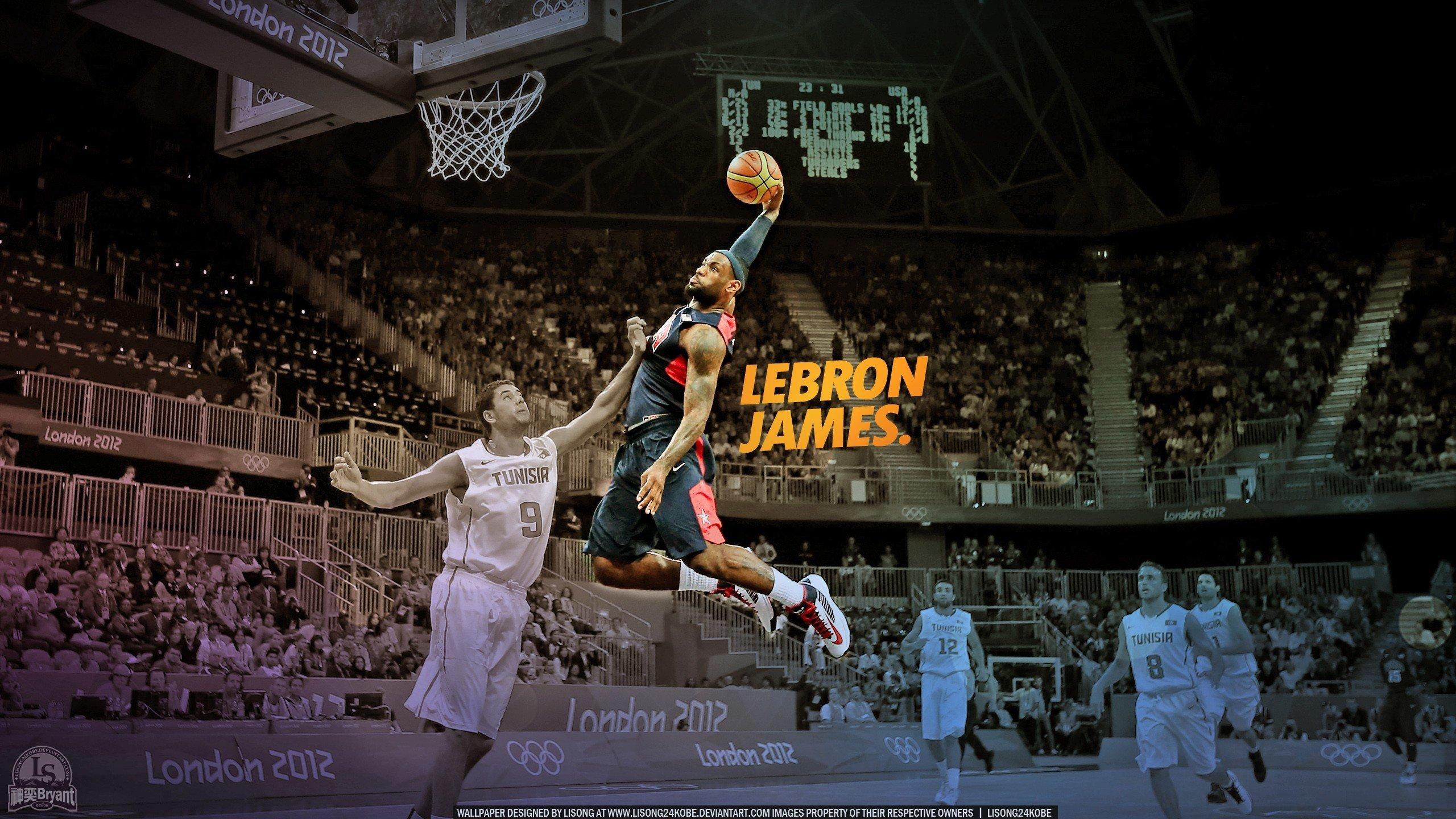NBA Lebron James dunk basketball player wallpaper background 2560x1440