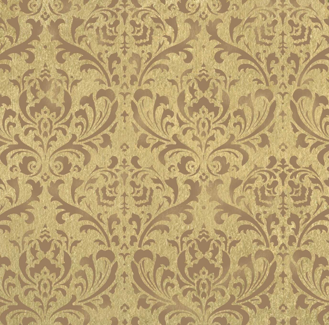 WALL STENCIL DAMASK BROCADE PATTERN 24X26 by CuttingEdgeStencils 1377x1359