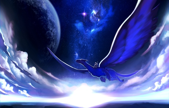 Art the sky the dragon rider flying night planet wallpapers 596x380