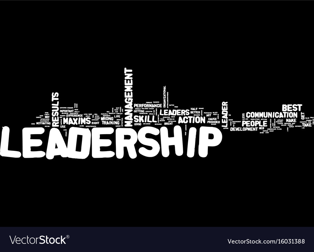 Leadership maxims text background word cloud Vector Image 1000x802