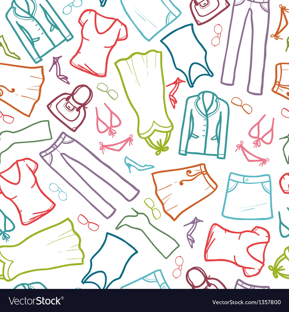 Wardrobe clothing seamless pattern background Vector Image 1000x1080