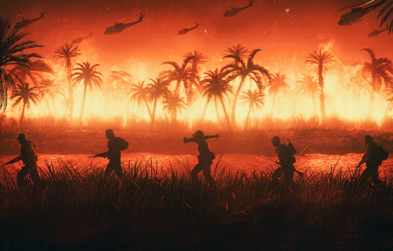 Wallpaper Fire War Helicopter Palm trees Soldiers Army USA 1332x850
