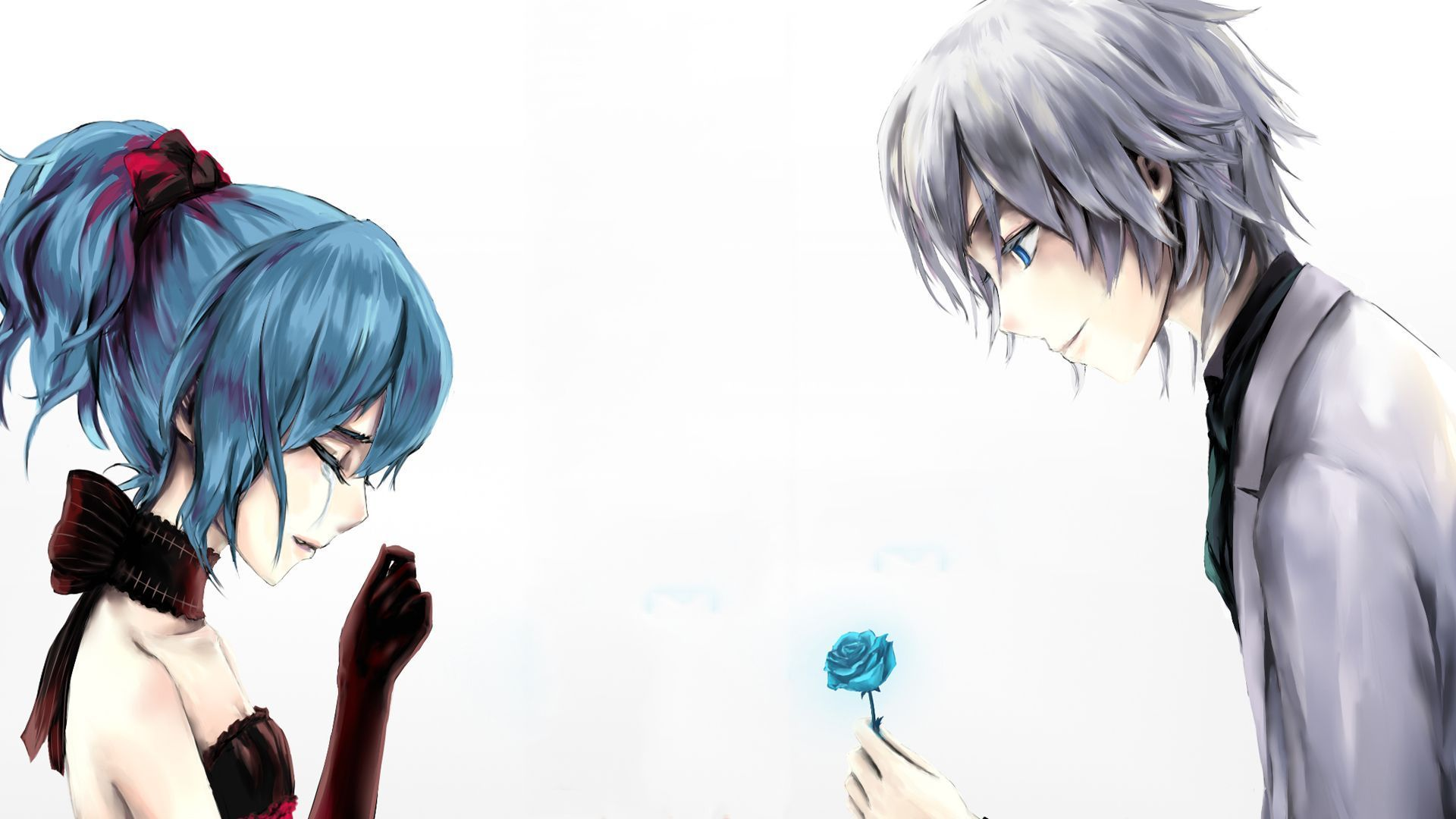 Anime Boy And Girl free download anime love couple boy giving rose to cry girl