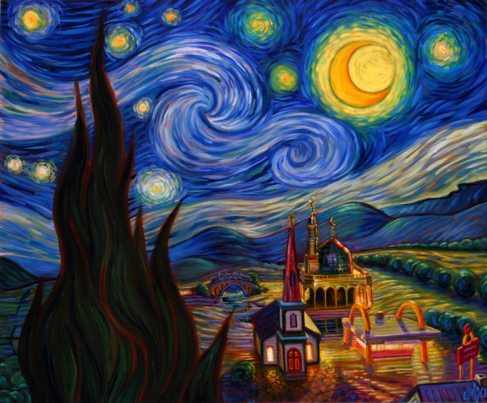 Popped Culture: Gotham Starry Night And Other Van Gogh Parodies