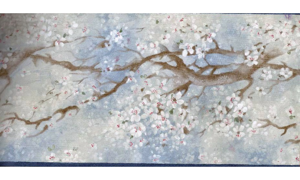 Home Blue White Japanese Floral Wallpaper Border 1000x600