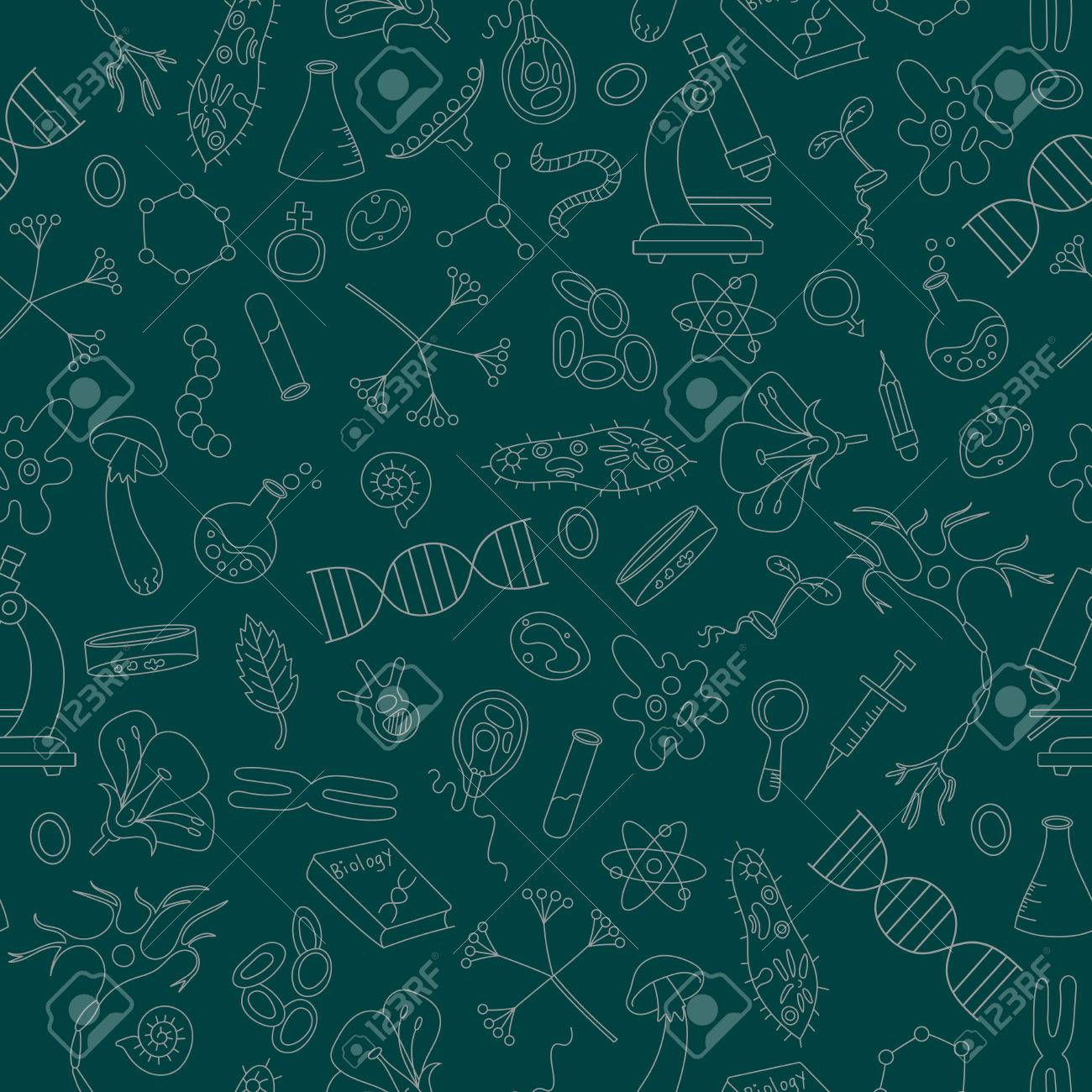Seamless Background With Hand Drawn Icons On The Theme Of Biology 1300x1300