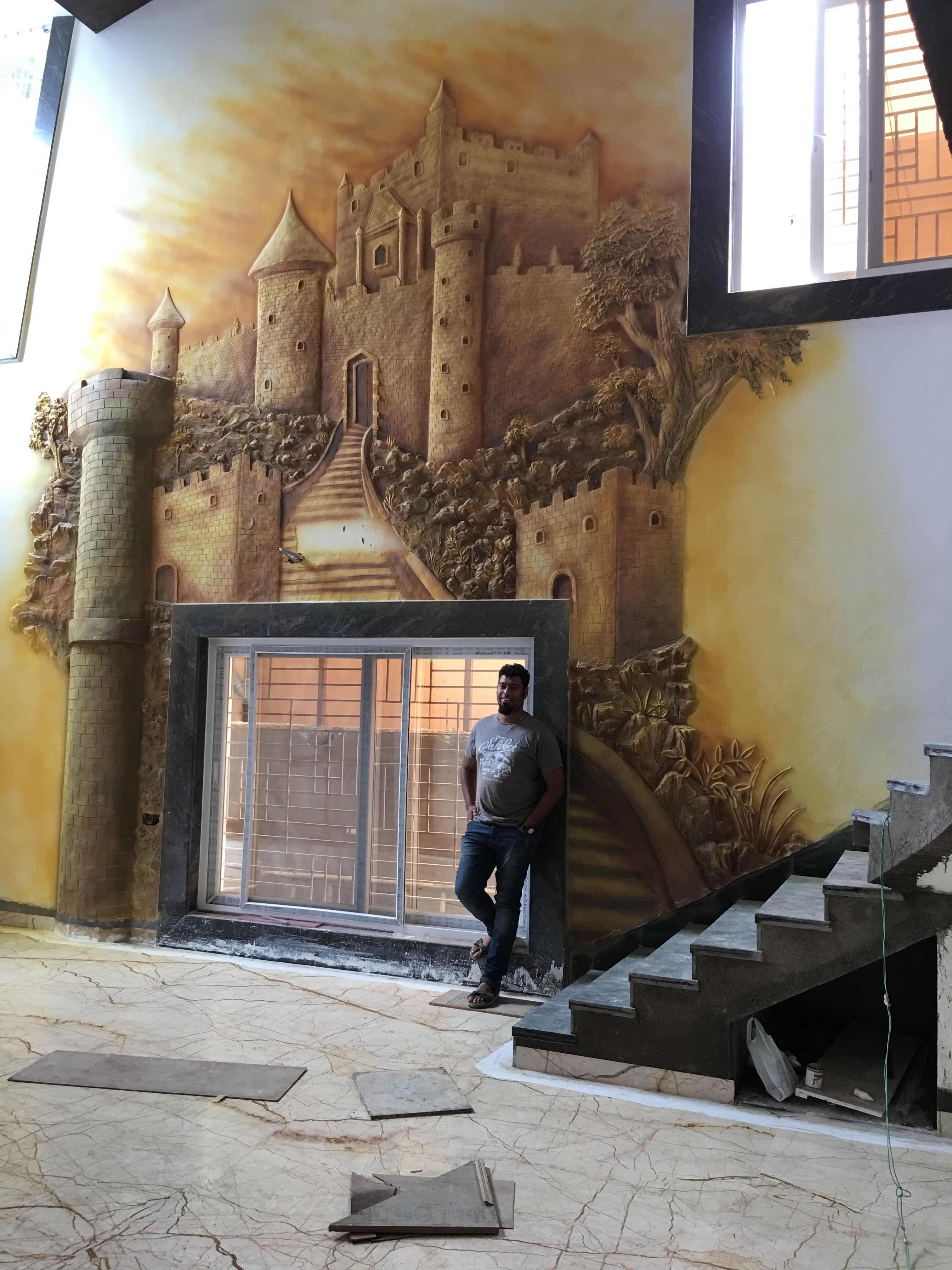 Drywall mural in drawings hall of a bangalow Mural Wall murals 3024x4032