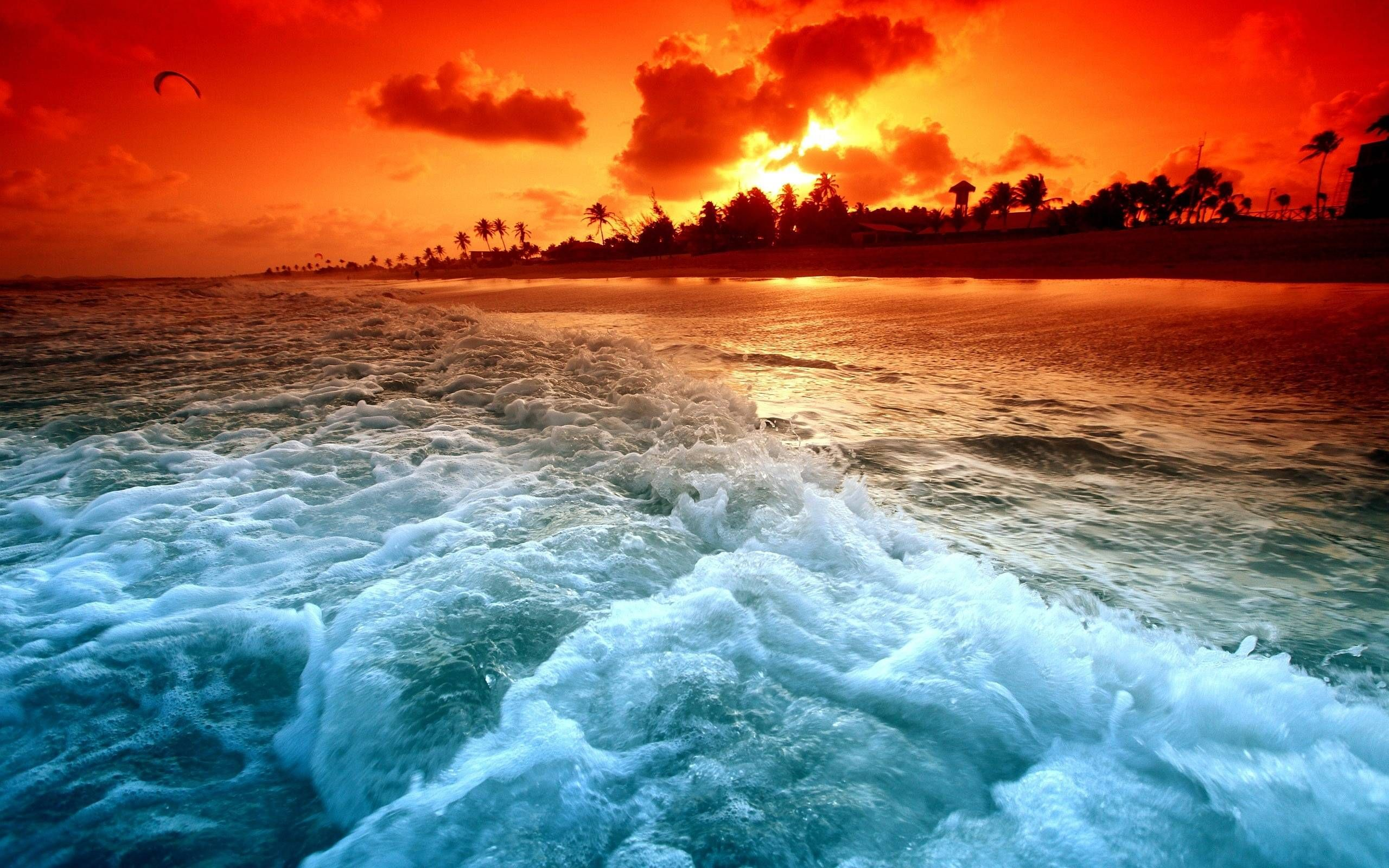 Ocean Sunset Wallpapers  Waves ocean Sunset 2560x1600