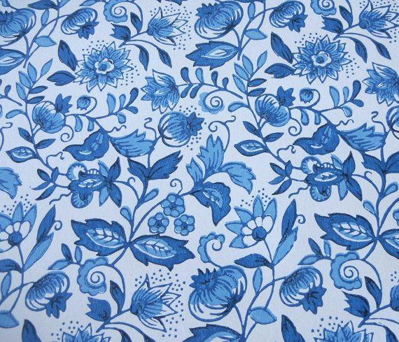 Vintage Wallpaper Roll Schumacher Blue Onion Blue White 570x489