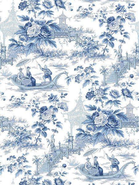 Garden Toile Wallpaper China Blue and White LOU  patternsdesigns 452x600